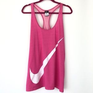 Nike Oversized Athletic Barbie Pink Tank Spellout